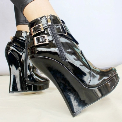 Big Size 36-45 Sexy Women Boots Patent Leather Pointed Toe Ankle Boots Heels Shoes Woman Wedges Boots 18cm Women Pumps Botas women sexy high heel ankle boots with lock lace up patent leather boots autumn short boots wedding shoes women botas size 36 46