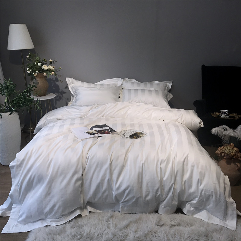 1000TC Branco Faixa Cinza de Algodão Egípcio Conjunto de Cama Do Hotel de Luxo jogo de Cama folha de Cama da RAINHA do REI Capa de Edredão Macio parure de lit