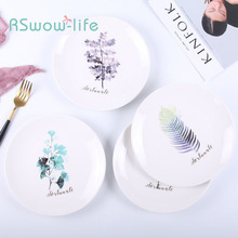 White Ceramic Dish Creative Nordic Green Plant Fruit Household Hotel Simple Round Tableware Home Kitchen Supplies