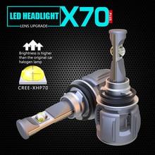1 комплект H8 H9 H11 120 W 15600LM XHP-70 объектив чипы X70 автомобиля светодио дный лампы передних фар лампы H4 H7 9005/6 HB3/4 9012 D1S/D2S/D3S/D4S 6 K