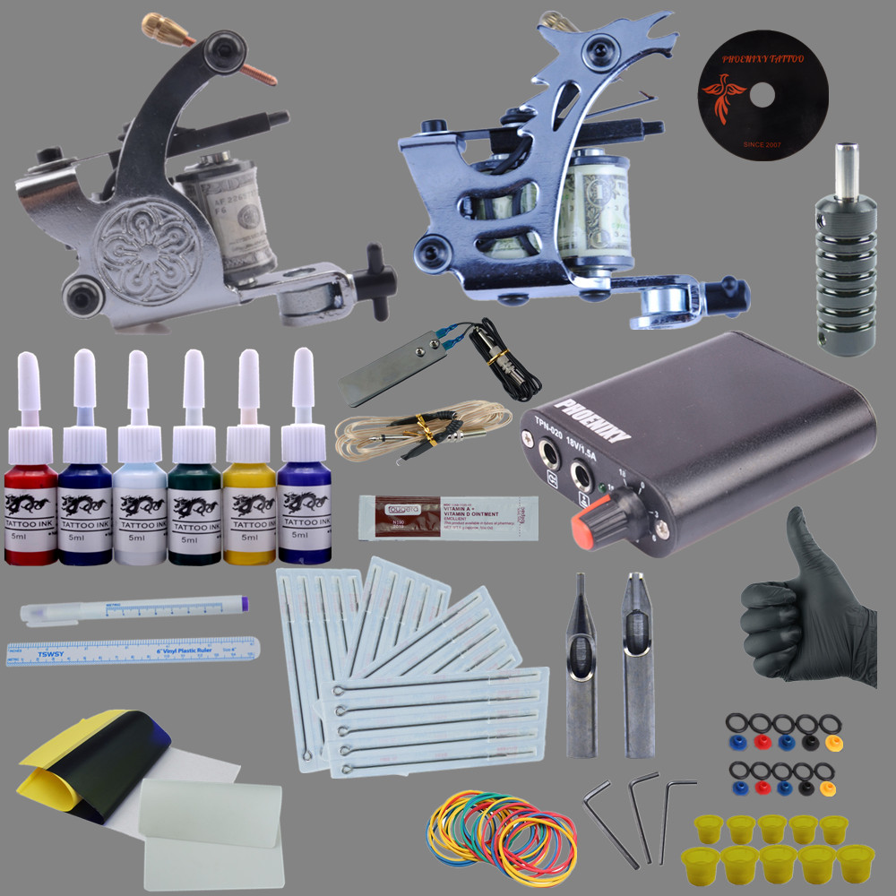 Completed Tattoo kit Cheap Tattoo Kit Tattoo Starter Kit 2 Tattoo Machines Guns Set 6 Color Inks Supply Set Equipment 9656 early simple machines set