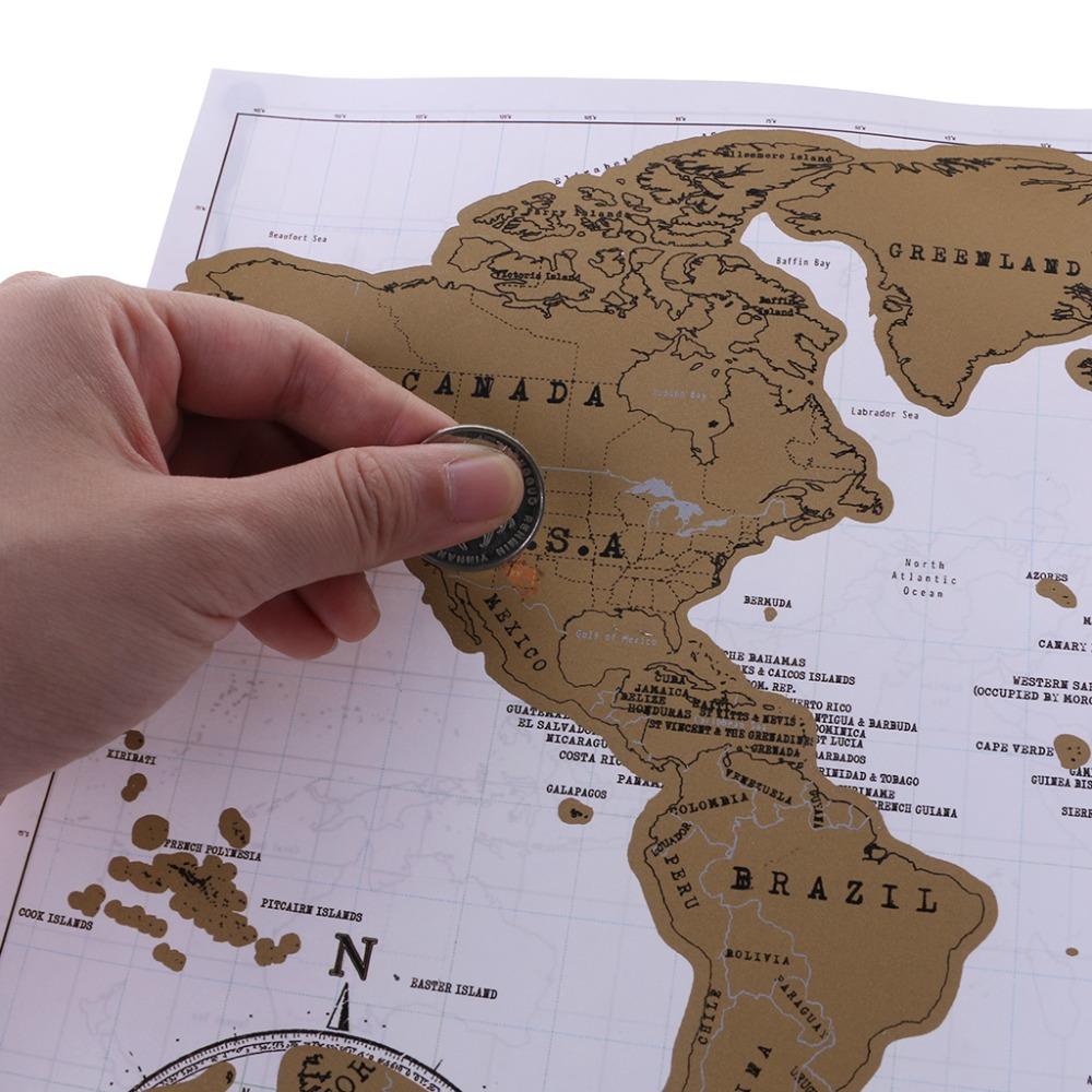 Deluxe Personalized Scratch Off Journal World Map And Travel Atlas Poster 4