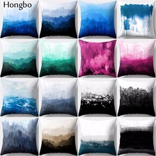 Hongbo 1 Pcs Colorful Oil Painting Mountain Wave Polyester Pillow Case Sofa Cushion Cover Decorative