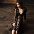 ArtSu Макси Плюс Размер Женщин Длиной до пола Черный Белый Лето Кружева Dress Отрегулировать Талии Sexy See Through Цветочные Платье DR5046