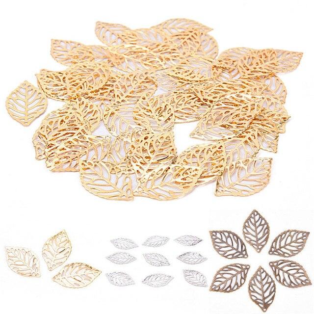 50 יחידות עלים תכשיטי אמנות פיליגרן מתכת DIY אביזרי תליון תחפושת סינית עטרת כלה עלים מתכת