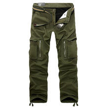 Winter Thick Warm Cargo Pants Men Casual Outwear Pockets Trousers Plus Size Loose