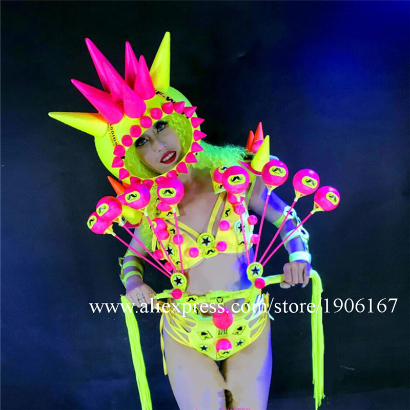 New Design Fluorescent Sexy Lady Party Evening Dress Stage Performance Models Ballroom Bikini  Masquerade Cosplay Clothes