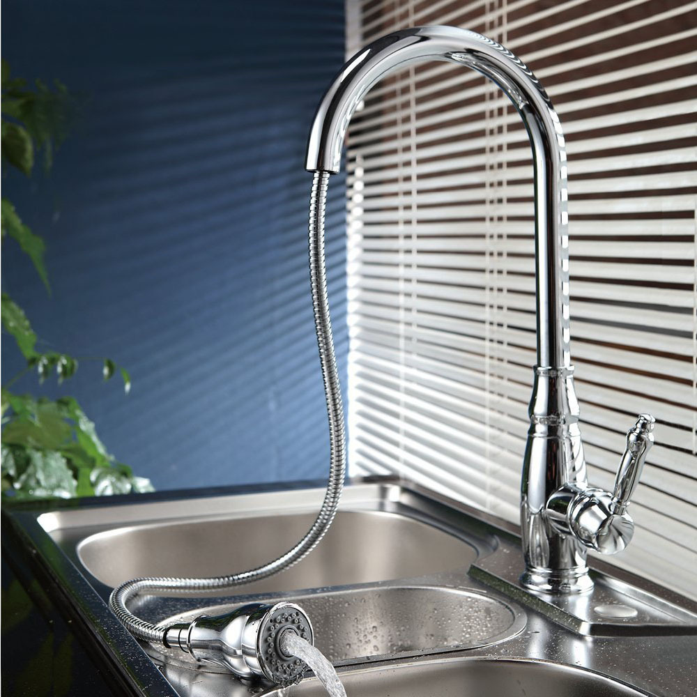 KES L6932/ 2/ 7 Single Handle High Arc Kitchen Sink Faucet with Pull ...