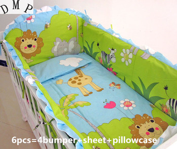 Promotion! 6PCS Baby Cot Bed Bedding Crib Bed Childrens Animal Baby Boy Crib Bedding Set ,include(bumpers+sheet+pillow cover)