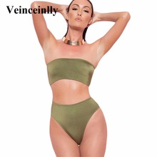 High Cut Bikini Bandeau Female Two Pieces High Waist