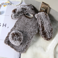 KISSCASE Rabbit Fluffy Fur Phone Case For IPhone 4 5 5S SE 6 6S 7 Cute