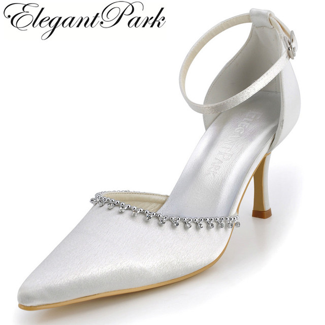 ba48fd476c60 A825 Women Shoes Pointed Toe Ivory Rhinestone Satin High Heel Ankle Strap  Pumps Women s Wedding Bridal Shoes