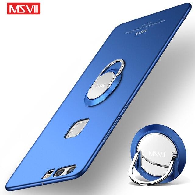 Dành cho Huawei P9 Da Ốp Lưng MSVII Nhẫn Mỏng Matte Coque Cho Huawei P9 Lite Ốp Lưng Giá Đỡ Dành Cho huawei P9 Plus Trường Hợp