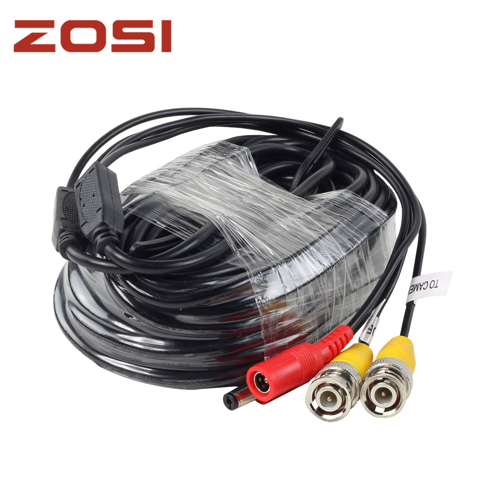 ZOSI BNC Cable 60ft Power Video Plug and Play Cable for CCTV Camera System цена