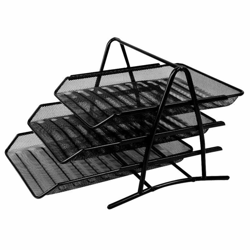 Балык файла три слоя металлическая сетка файл держатель ящика Тип конструкция для хранения файлов лотки для документов офисная техника школьные принадлежности