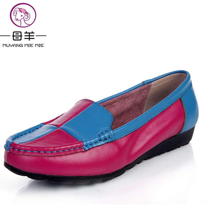 ФОТО MUYANG MIE MIE Color block women flats,2016 loafers women genuine leather comfortable flat shoes women casual single shoes