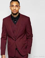 Handsome One Button Burgundy Groom Tuxedos Groomsmen Men's Wedding Prom Suits Bridegroom (Jacket+Pants+Vest+Tie) K:816