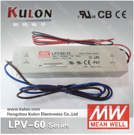 48V 60W 1250mA Power Supply Original Meanwell LPV-60-48 IP67 UL CB CE EMC for LED lighting meanwell 24v 35w ul certificated lpv series ip67 waterproof power supply 90 264v ac to 24v dc