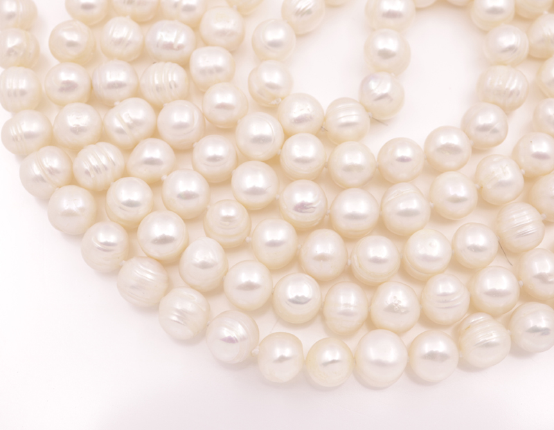"Купить с кэшбэком Natural White Growth Freshwater Pearl strands Necklace 10mm stone Handmade Jewelry 62"" Long"