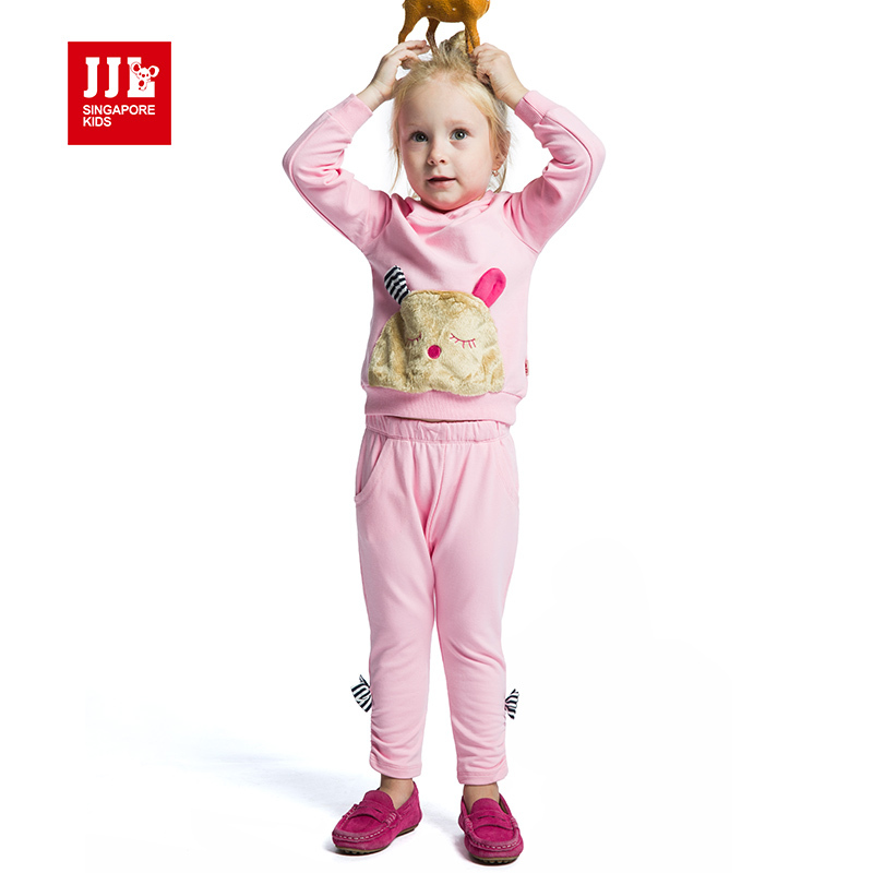 baby girls suit patch fluff design hoodies pants clothing sets girls outdoor clothes fashion outfits
