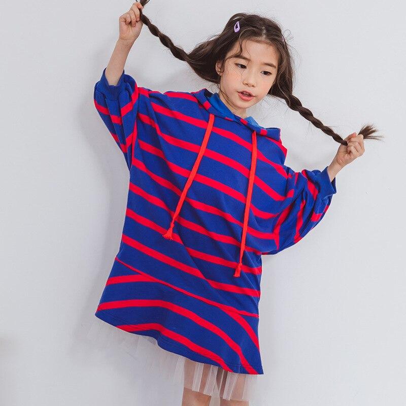 Mode coréenne rayé Designs enfants fille à capuche robe enfants INS Hot coton filles vêtements dentelle enfant robe épaisse 4 5 6 7 ans