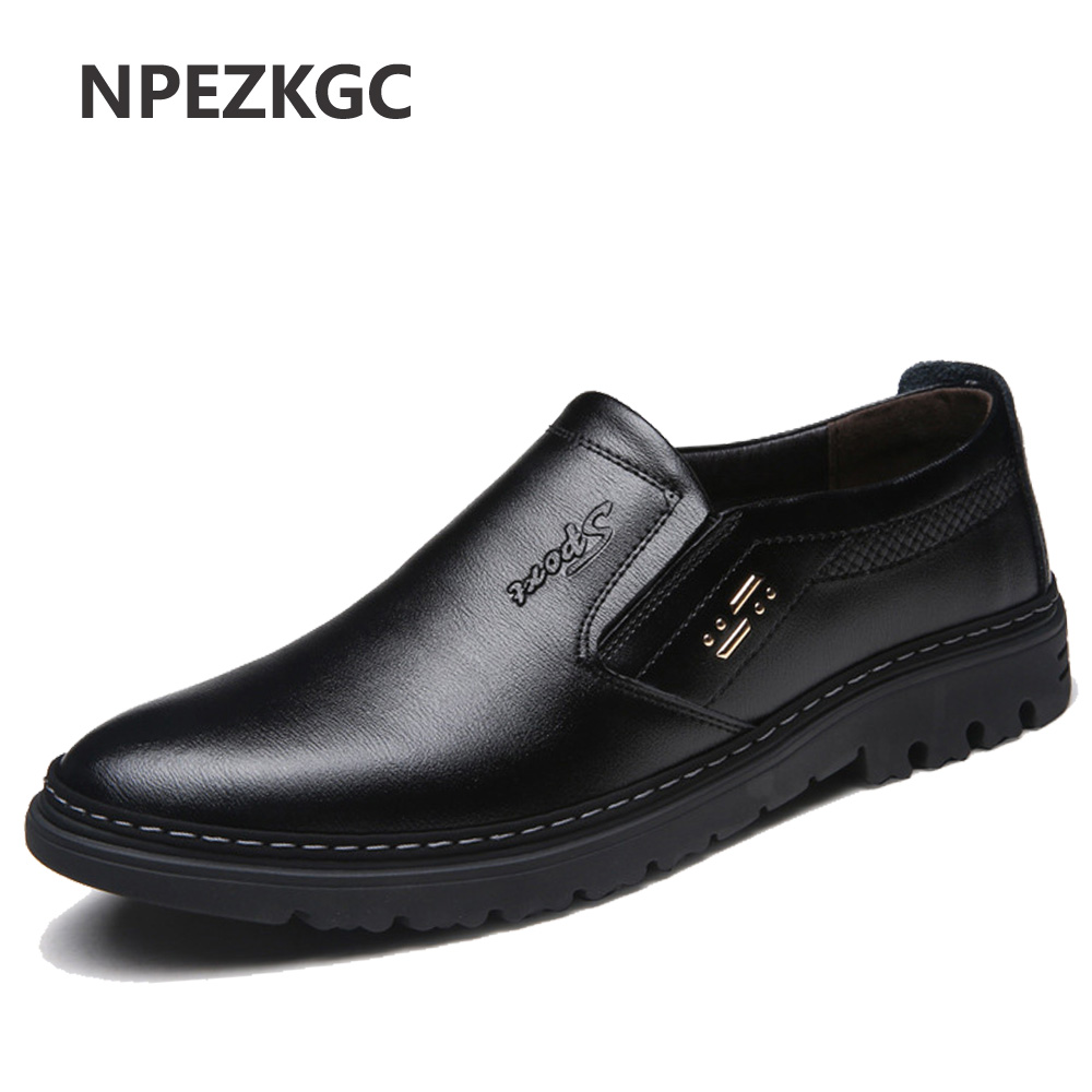 NPEZKGC Handmade Genuine Leather Men Shoes, Sping Autumn Business Fashion Men Casual Shoes, Brand Shoes Men