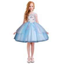 2019 Fashion Children Flower Unicorn Dress Cute Kids Sleeveless Tulle Summer Dress Party Ball Gown Princess Dresses for Girls