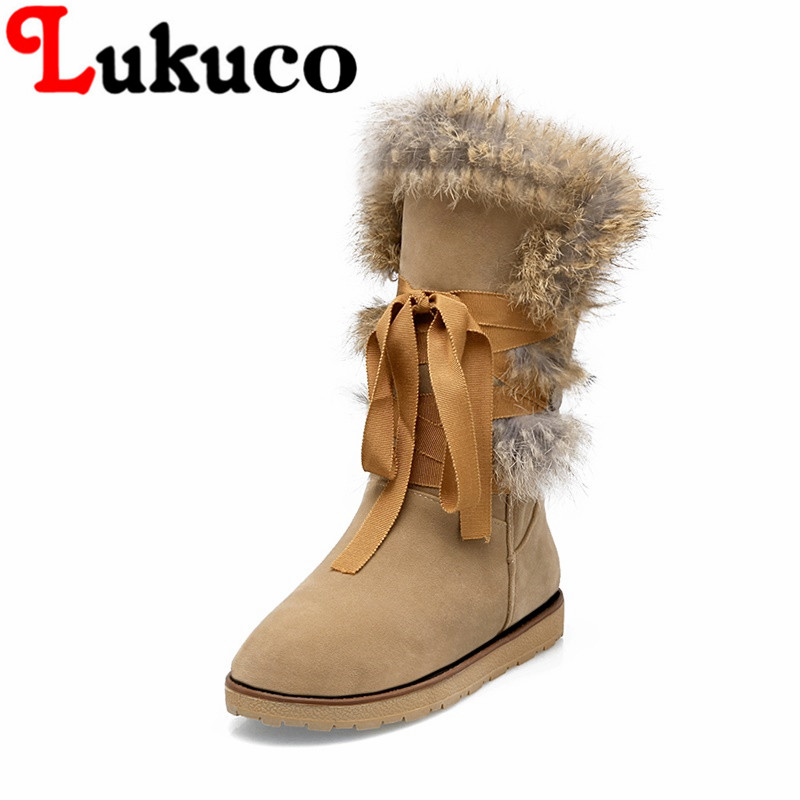 Lukuco pure color women mid-calf snow boots with ribang and faux fur design high quality PU made low wedges heel shoes