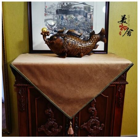 vintage Golden coffee tablecloth luxury table cloth bedside cabinet towel cover tassels