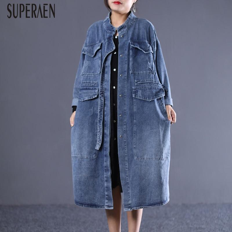 SuperAen 2019 Spring New Korean Style Denim   Trench   Coat for Women Loose Pluz Size Ladies Windbreaker Casual Fashion Women Coats
