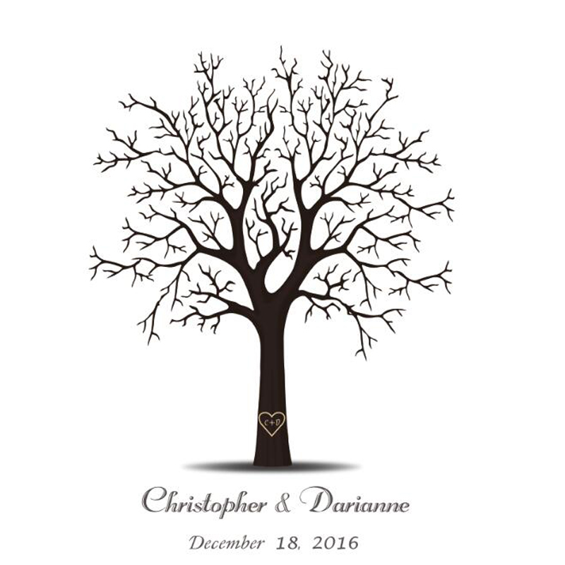 Personalize Wedding Tree Fingerprint  Guest Book - Baby Shower Bridal Ceremony Signature books with 6 ink pads for free mary pope osborne magic tree house books 29 32