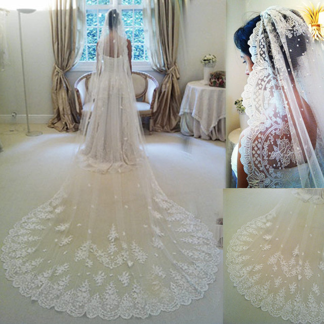 New Veu De Noiva 3 Metros Duas Camadas Lace Ivory White Tulle And Lace Bridal Veil Purfle Comb Brautschleier Cathedral Weiss