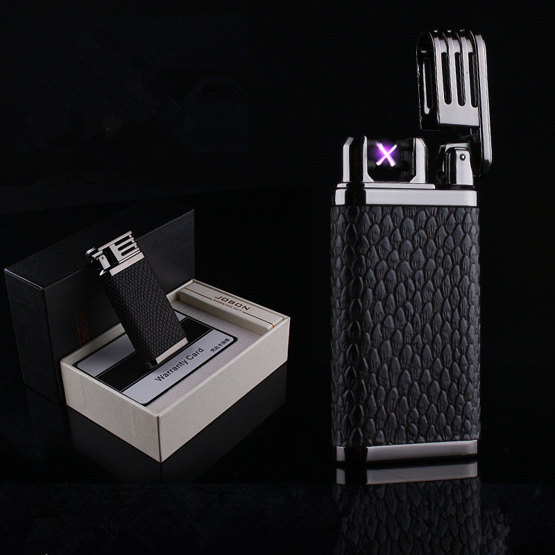 Image 2 - 2018 New Leather USB Thunder Lighter Rechargeable Electronic Cigarette Plasma Double Arc Palse Pulse Gadgets Shake Ignition-in Cigarette Accessories from Home & Garden