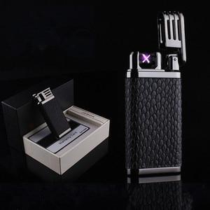 Image 2 - 2018 New Leather USB Thunder Lighter Rechargeable Electronic Cigarette Plasma Double Arc Palse Pulse Gadgets Shake Ignition