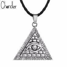 Chandler Egyptian Egypt Pyramid All-Seeing Evil Eye Illuminati Antique Silver Charm Pendant Necklace For Men Boys Fashion Bijoux