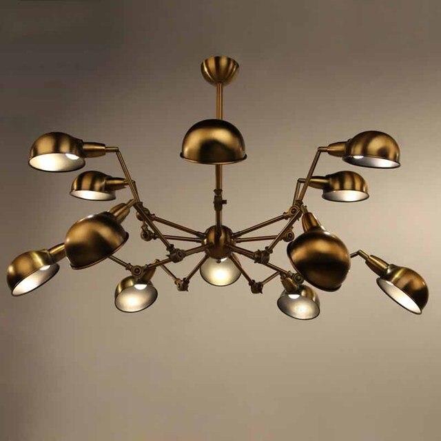 Kronleuchter Spinne Moderne Retro Kronleuchter Bronze Beleuchtung Farbe  Messing Vintage Leuchten Industrielle Moderne Bar Lampen