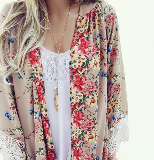 Fashion Women Floral Pattern Printed Lace Kimono Cardigan Blouse Shirt Brand Tops Batwing Sleeve Blusas Femininas 3