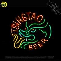 TSINGTAO Beer Neon Sign Drage luzes Sinal lâmpada de néon Tubo de Vidro Real neon Recreação clube Pub Sinal Anunciar Icônico personalizado