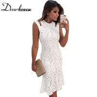 Dear Lover Creamy White Cutout Shoulder Mermaid Style Midi Dress LC61251