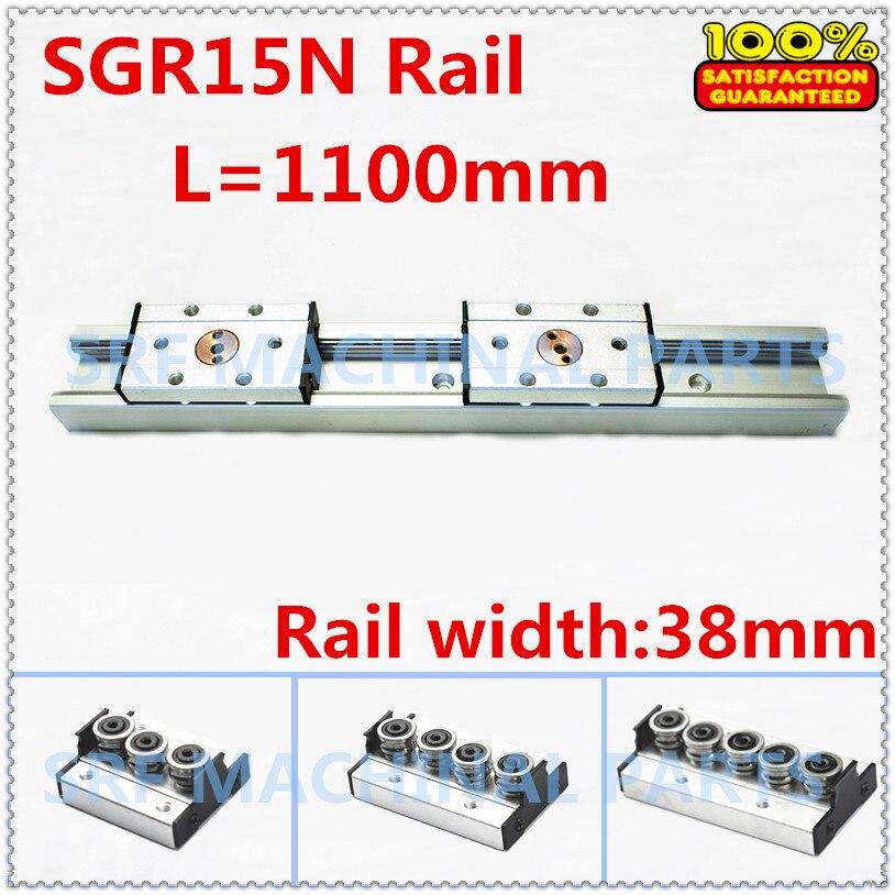 1pcs Silver aluminum Double axis roller linear guide SGR15N L=1100mm +1pcs SGB15N block  linear Motion slide rail for CNC part hgr20 linear guide width 20mm length 700mm with hgh20ca linear motion slide rail for cnc xyz axis 1pcs