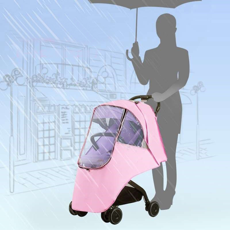 Baby Stroller Waterproof Rain Cover PVC Stroller Accessories Universal Wind Dust Shield With Windows For Strollers Pushchairs