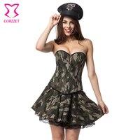 Burlesque kamuflaj korse dress cosplay ordu askeri kostüm seksi dress carnaval disfraces yetişkin cadılar bayramı kostümleri kızlar için