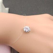 Новинка невидимая рыболовная леска прозрачный AAA+ CZ браслет с подвеской для женщин Серебряный цвет pulseira feminina браслет на ногу