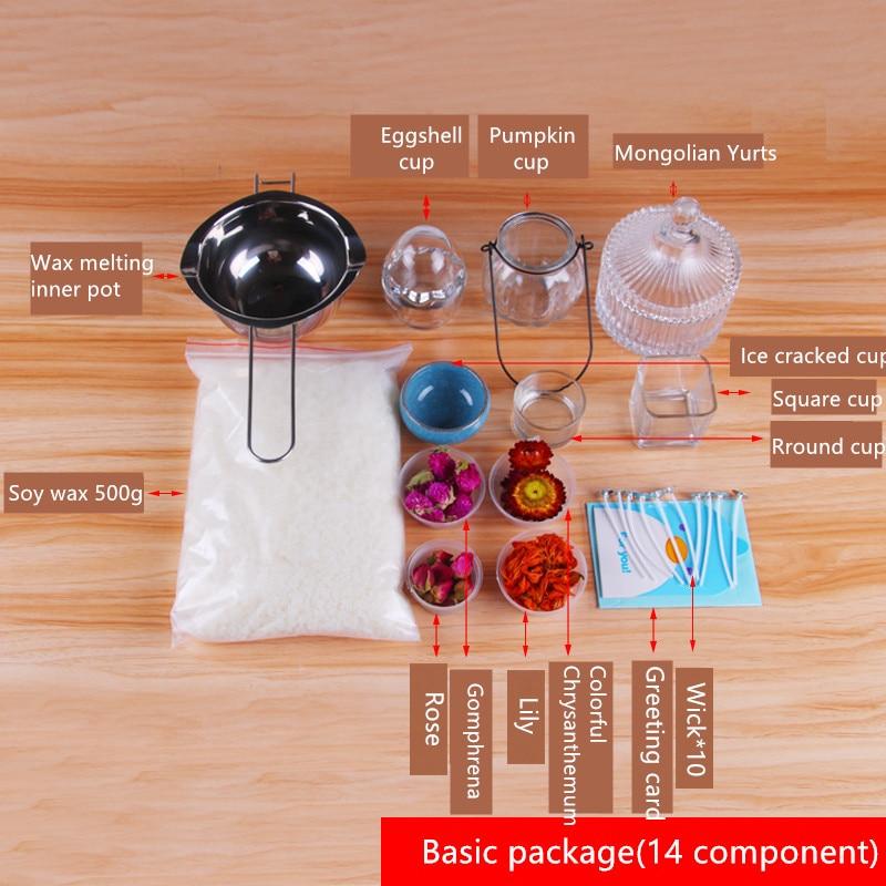 CHUANGGE bougie bricolage paquet ensemble cire de soja auto-fait bougie Kits paquet manuel outils de bricolage matériel aromathérapie Silicone moule - 3