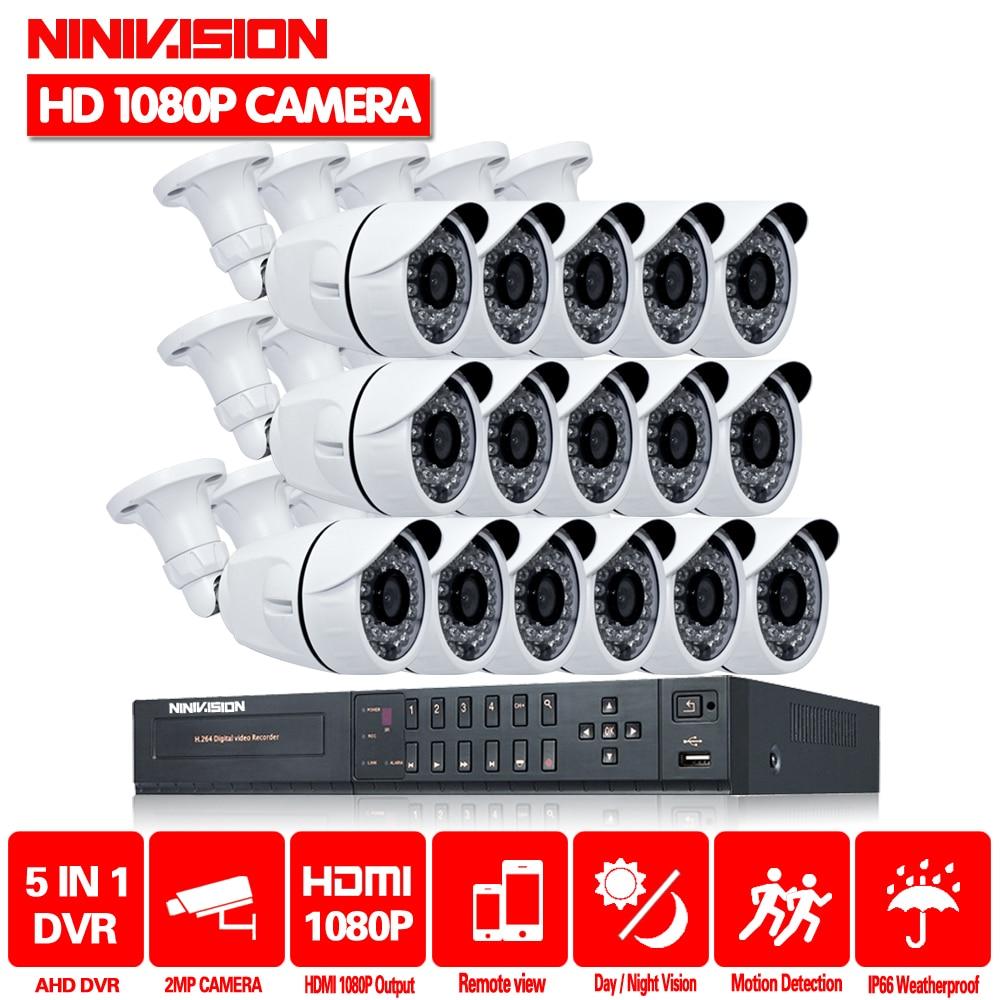 NINIVISION chaud 16CH 1080 P HDMI AHD DVR système de vidéosurveillance vidéo 16 pièces 2MP 3000TVL IR système de Surveillance de caméra de sécurité extérieure