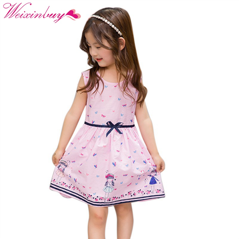 Toddler Kids Baby Girls Dress Summer Girls Cartoon Sleeveless Dress Lovely Dresses dc 5v multifunction self lock relay plc cycle timer module delay time switch drop shipping g205m best quality