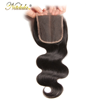 Nadula Hair 4*4 Middle Part Brazilian Body Wave Hair Closure 100% Human Hair Remy Hair Swiss Lace Closure 10 20inch
