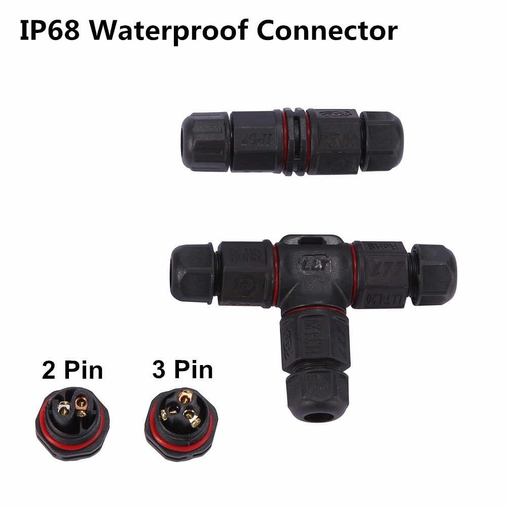 6MM 8MM 10MM Waterproof Cable Connector IP68 Wire Outdoor Electrical Terminal LED Adapter 2pin 3pin I T Cross Shape Connector