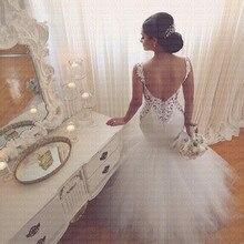 2020 nuevo árabe glamoroso Vestido De boda sirena cariño Encaje Vintage Sexy sin espalda vestidos De boda con capas Vestido De Noiva