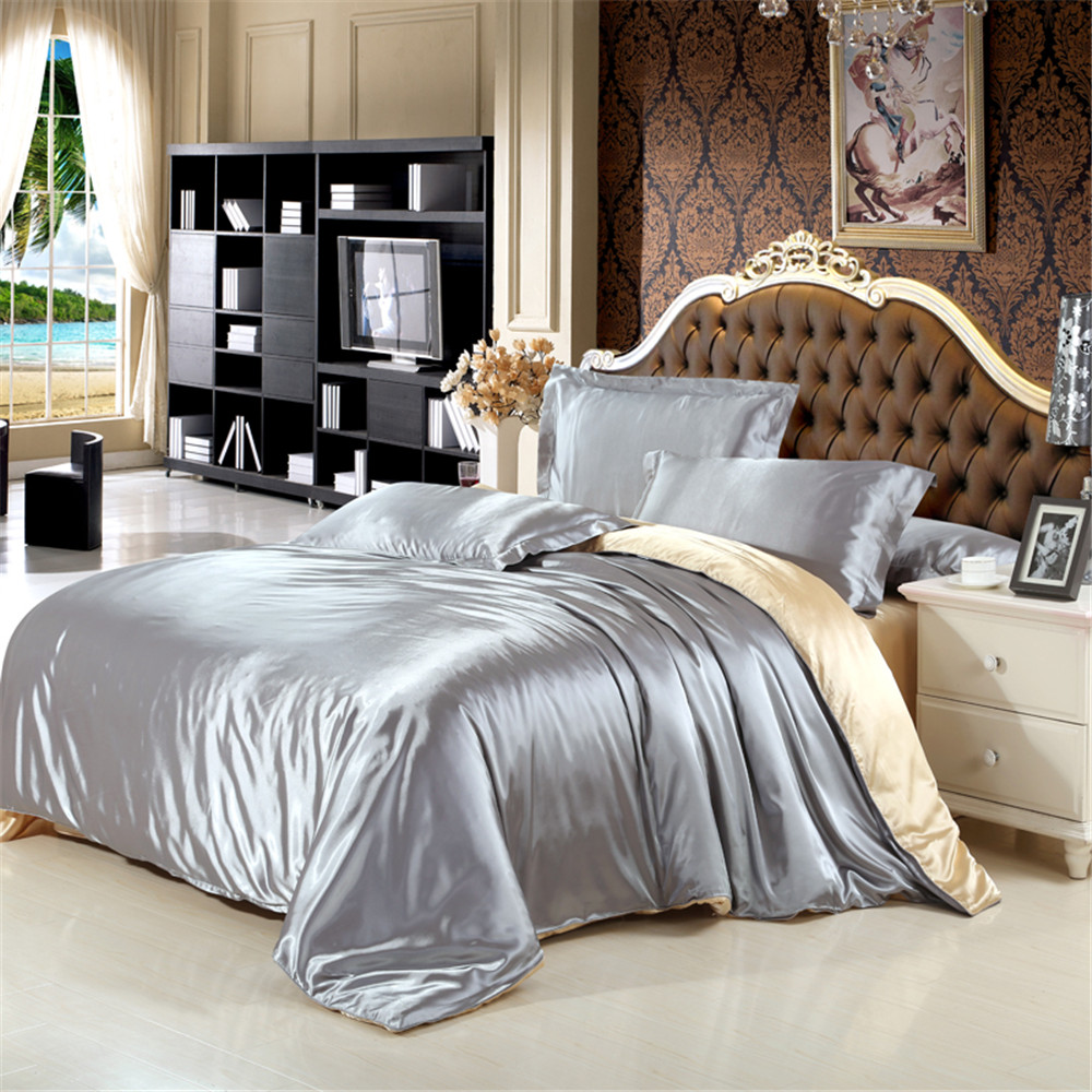 100% Natural Silk Bedding Set With Duvet Cover Bed Sheet Pillowcase Luxury 4pcs Satin Bedding Bed Linen King Queen Twin Size|Bedding Sets| |  - title=